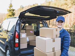 woman being delivered small package