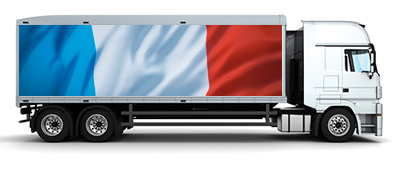 transport truck with french flag